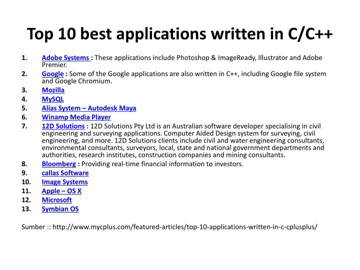 Top 10 best applications written in C/C++