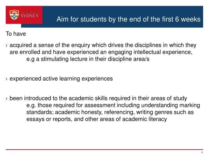 Aim for students by the end of the first 6 weeks