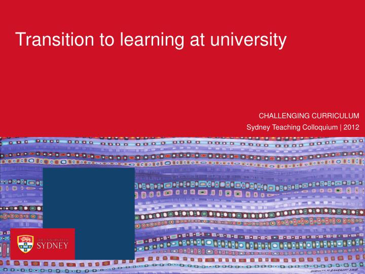Transition to learning at university