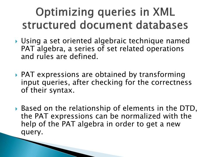 Optimizing queries in XML structured document