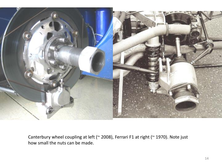 Canterbury wheel coupling at left (~ 2008), Ferrari F1 at right (~ 1970). Note just how small the nuts can be made.