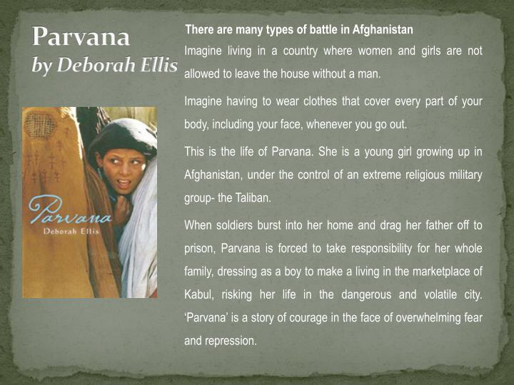 novel parvana essay The second book telling of a young girl living in afghanistan during the control of the taliban, parvana's journey is an incredible yet haunting novel of resilience and hope.