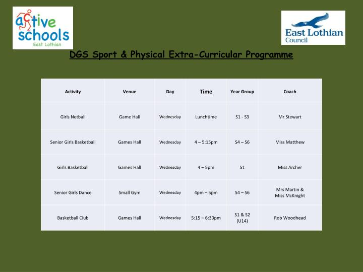 DGS Sport & Physical Extra-Curricular Programme