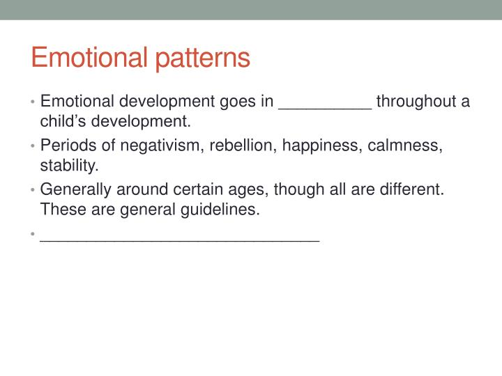 Emotional patterns