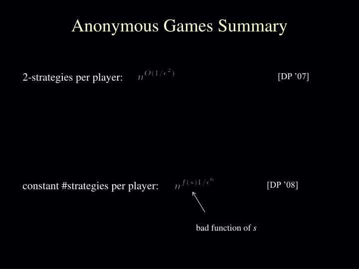 Anonymous Games Summary