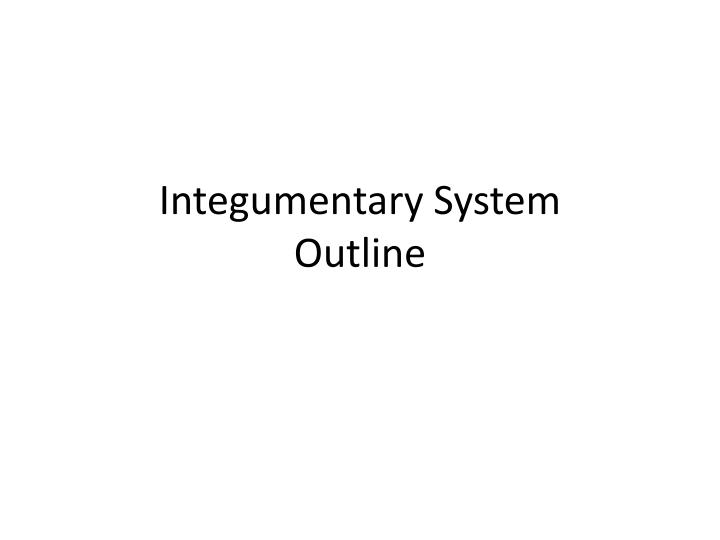 Integumentary system outline