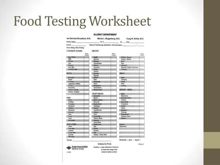 Food Testing Worksheet