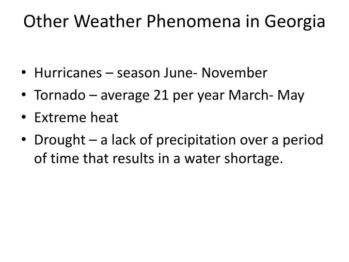 Other Weather Phenomena in Georgia