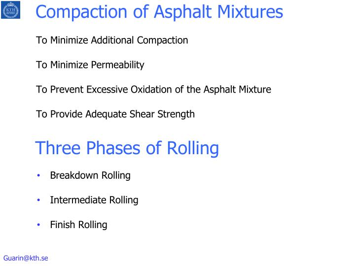 Compaction of asphalt mixtures