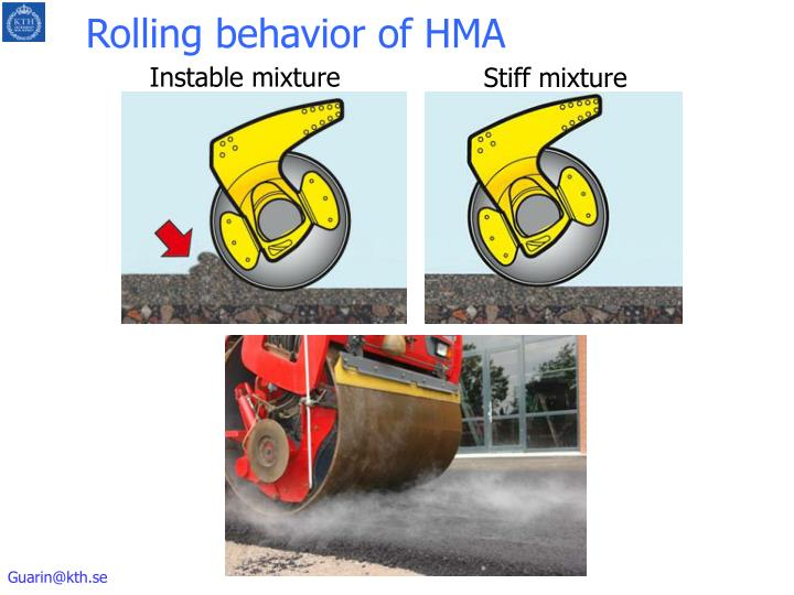 Rolling behavior of HMA