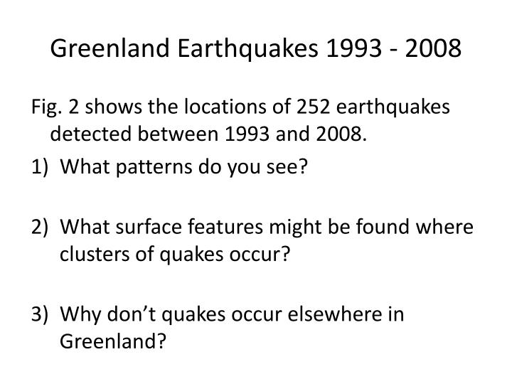 Greenland Earthquakes 1993 - 2008