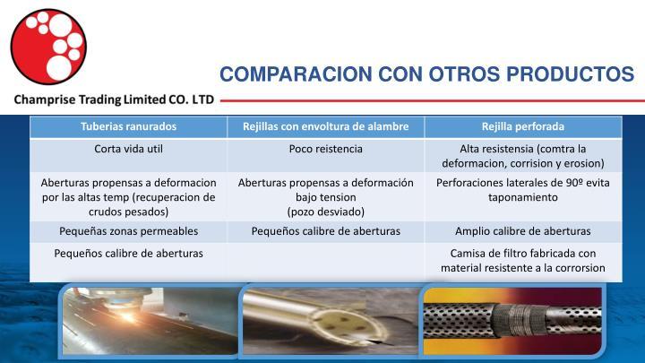 COMPARACION CON OTROS PRODUCTOS