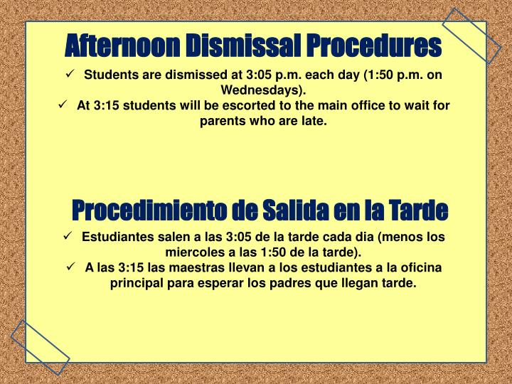 Afternoon Dismissal Procedures