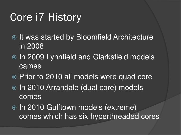 Core i7 History