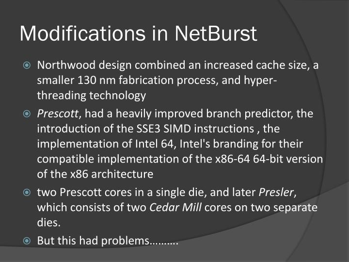 Modifications in NetBurst