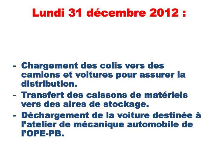 Lundi 31 décembre 2012 :