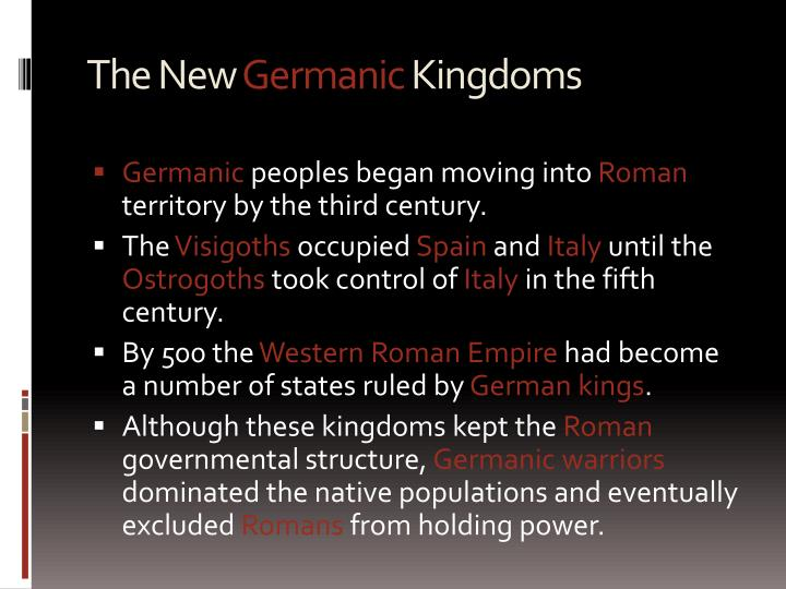 The new germanic kingdoms