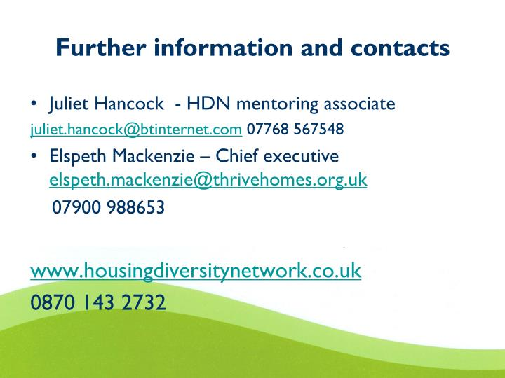 Further information and contacts