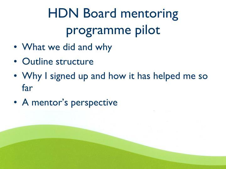HDN Board mentoring programme pilot