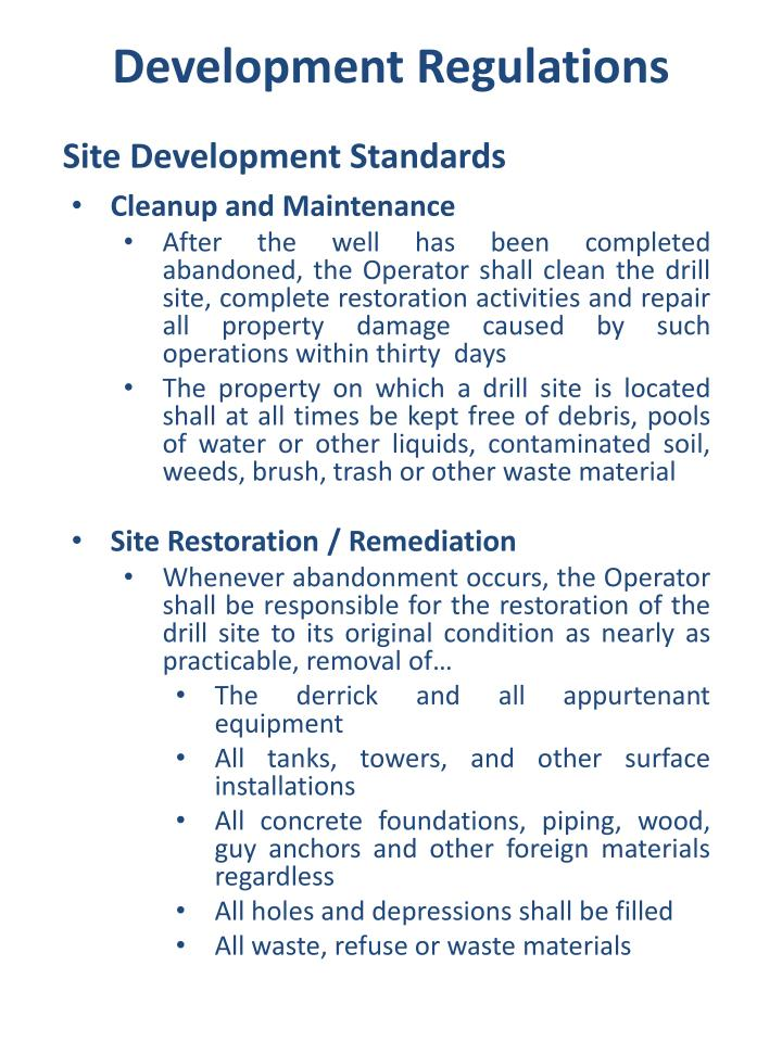 Site Development Standards