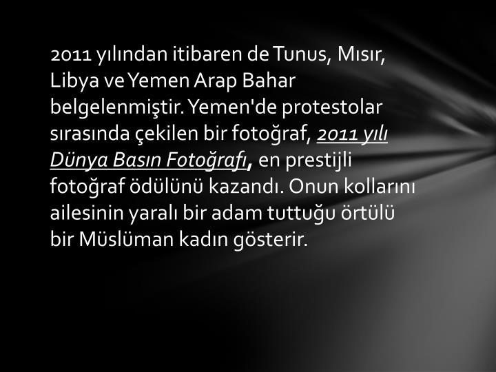 2011 yılından itibaren de Tunus, Mısır, Libya ve Yemen Arap Bahar belgelenmiştir.