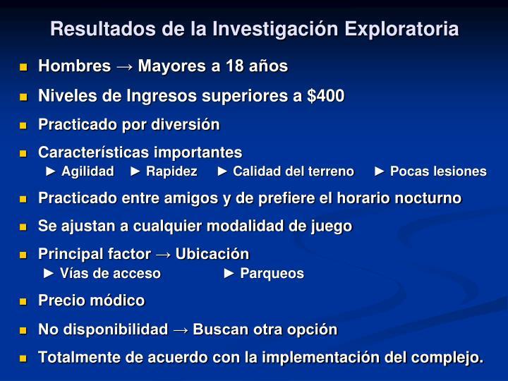 Resultados de la Investigación Exploratoria