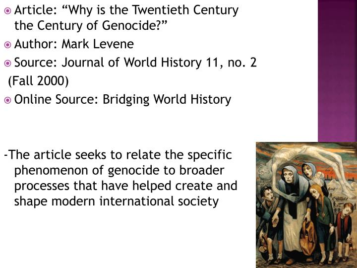 "Article: ""Why is the Twentieth Century the Century of Genocide?"""