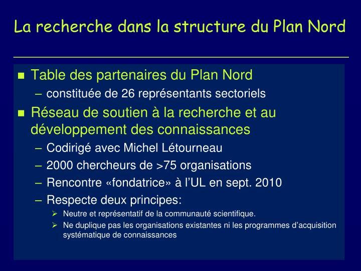 La recherche dans la structure du Plan Nord