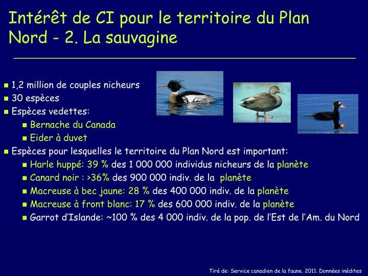 Intérêt de CI pour le territoire du Plan Nord - 2. La sauvagine
