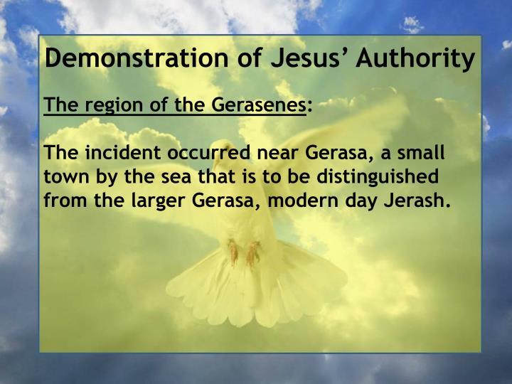 Demonstration of Jesus' Authority