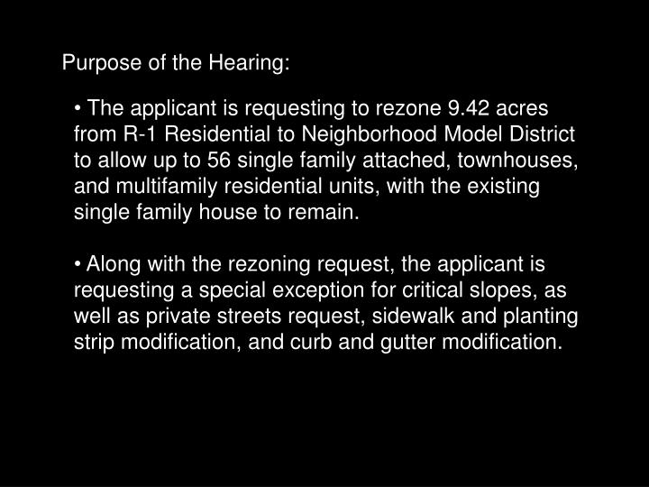 Purpose of the Hearing: