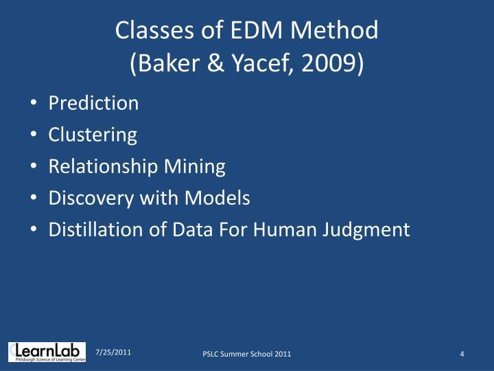 Classes of EDM Method