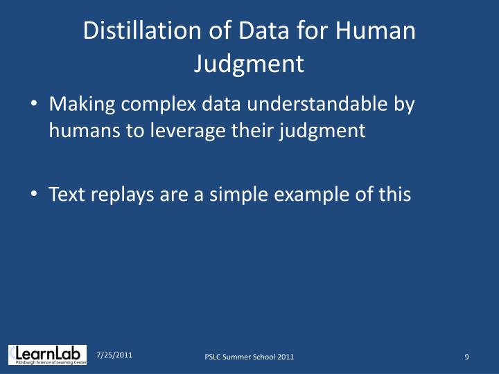 Distillation of Data for Human Judgment