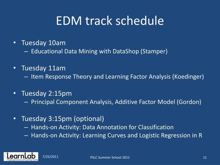 EDM track schedule