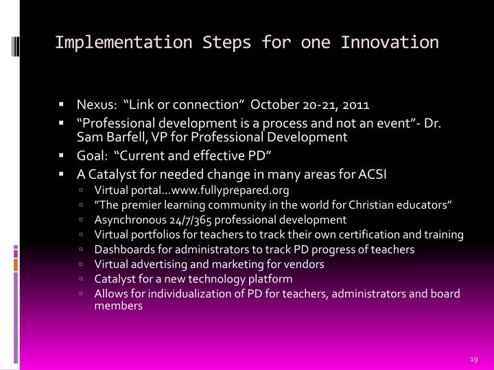 Implementation Steps for one Innovation
