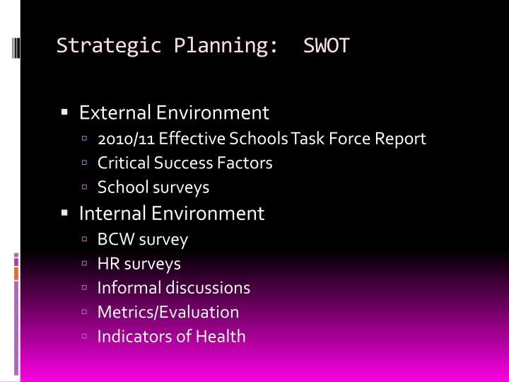 Strategic Planning:  SWOT