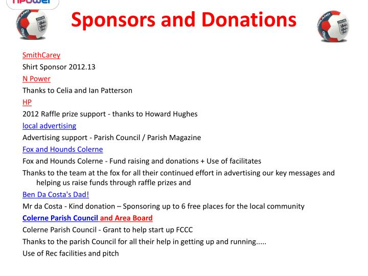 Sponsors and Donations