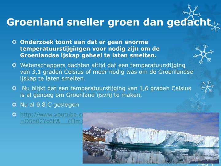 Groenland sneller groen dan gedacht