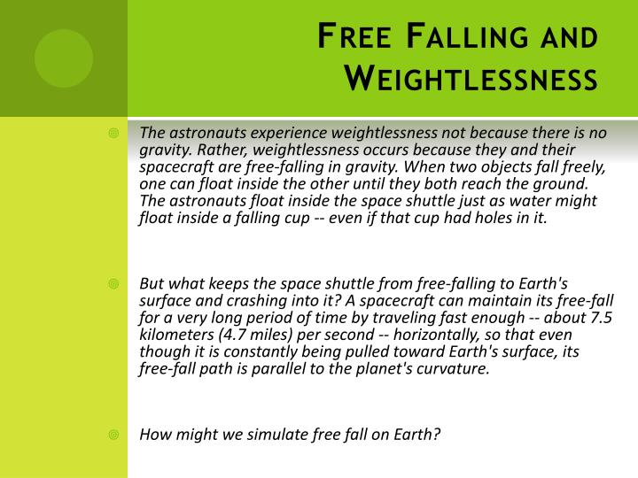 Free Falling and Weightlessness