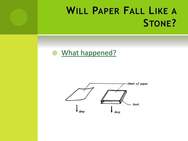 Will paper fall like a stone