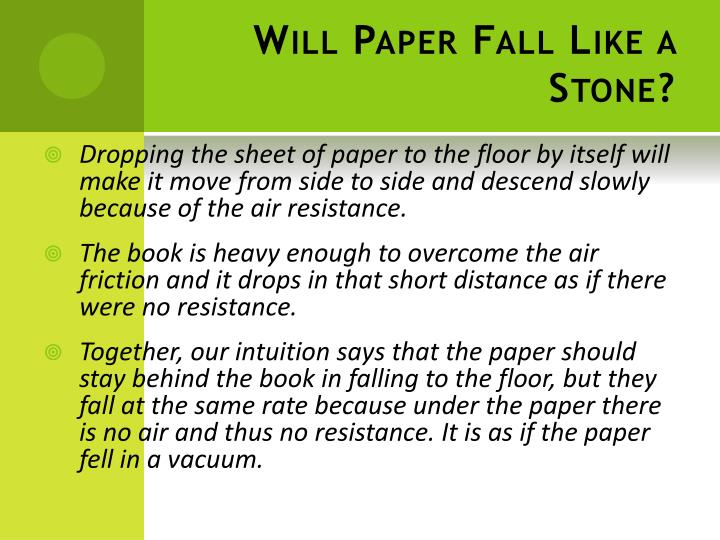 Will paper fall like a stone1