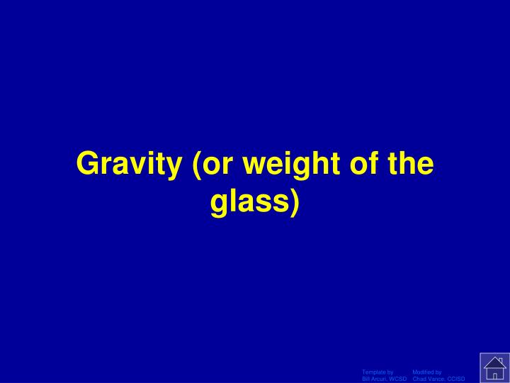 Gravity (or weight of the glass)