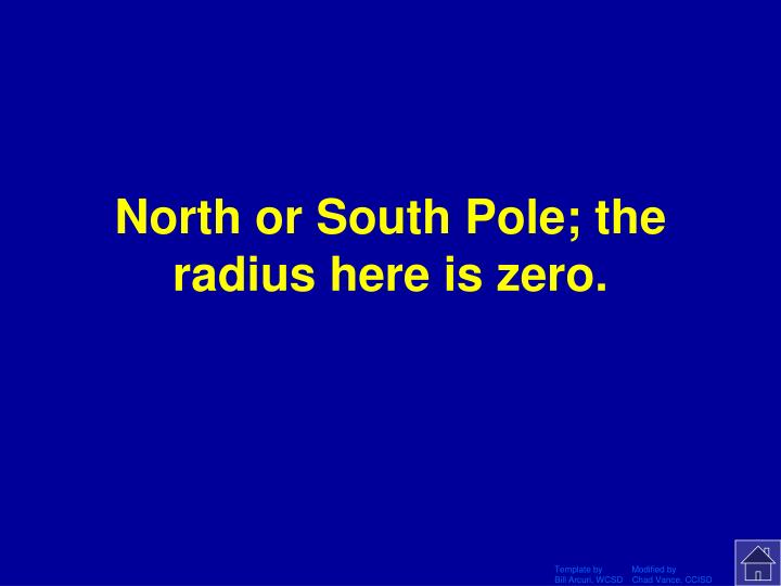 North or South Pole; the radius here is zero.