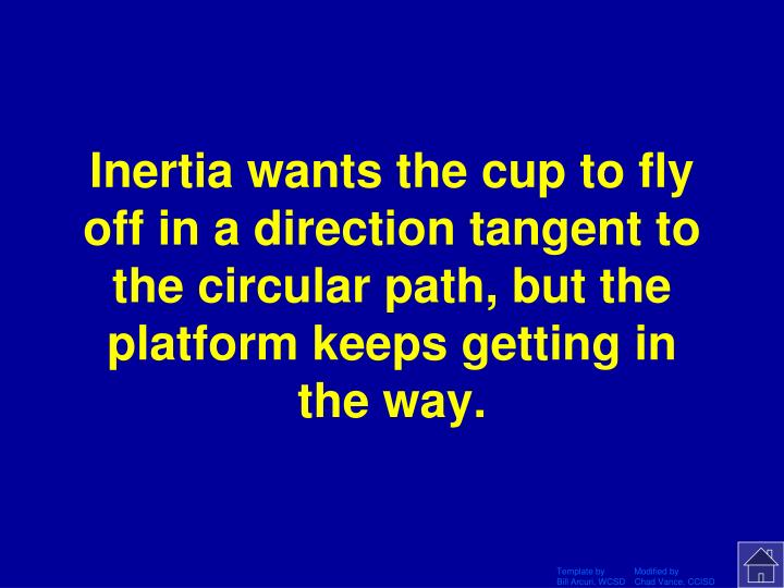 Inertia wants the cup to fly off in a direction tangent to the circular path, but the platform keeps getting in the way.