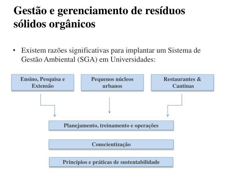 Gestão e gerenciamento de resíduos sólidos orgânicos