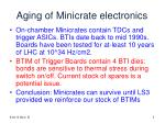 aging of minicrate electronics