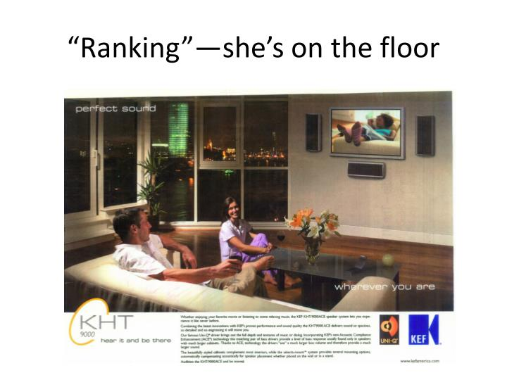 """Ranking""—she's on the floor"
