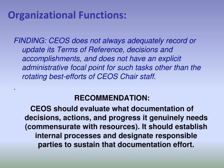 Organizational Functions: