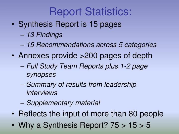 Report Statistics: