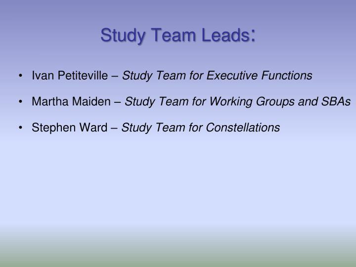 Study Team Leads
